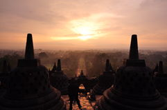 Sunrise at Borobudur Royalty Free Stock Image