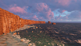 Sunrise with breaking ocean wavessunset with breaking ocean waves 3D rendering.  Royalty Free Stock Image
