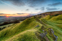 Sunrise in the Brecon Beacons. Beautiful sunrise over the Llangattock Escarpment in the Brecon Beacons national park in Wales Stock Photo