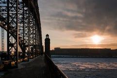 Sunrise from the bridge Royalty Free Stock Photo