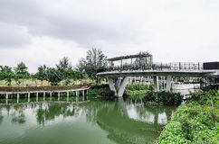 Sunrise Bridge, Punggol Waterway, Singapore Stock Images