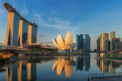 Sunrise and bridge in Singapore City with panorama view Stock Image