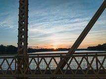Sunrise on the bridge royalty free stock photos