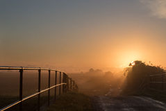 Sunrise from the bridge. Royalty Free Stock Image