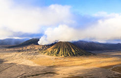 Sunrise at the Bromo volcano. This photo is taken in Java Island, Indonesia. Mount Bromo, one of the top travel destinations in East Java Indonesia, is an active Royalty Free Stock Photo