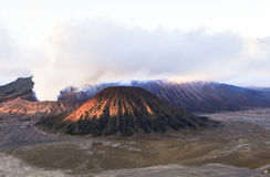 Sunrise at the Bromo volcano. This photo is taken in Java Island, Indonesia. Mount Bromo, one of the top travel destinations in East Java Indonesia, is an active Stock Image
