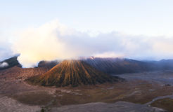 Sunrise at the Bromo volcano. This photo is taken in Java Island, Indonesia. Mount Bromo, one of the top travel destinations in East Java Indonesia, is an active Stock Photos