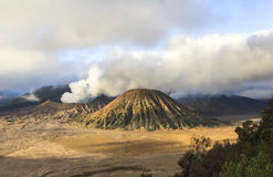 Sunrise at the Bromo volcano. This photo is taken in Java Island, Indonesia. Mount Bromo, one of the top travel destinations in East Java Indonesia, is an active Royalty Free Stock Image