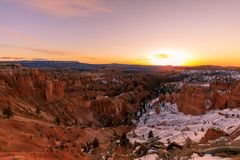 Sunrise at Bryce Canyon National Park in Winter royalty free stock image