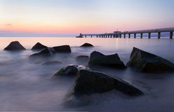 Before sunrise in Burgas bay Stock Images