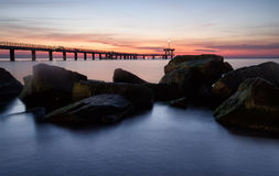 Before sunrise in Burgas bay Stock Image