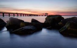 Before sunrise in Burgas bay stock image