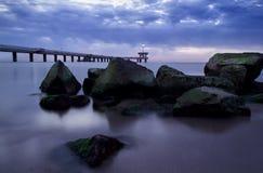 Before sunrise in Burgas bay. Bridge in Burgas Royalty Free Stock Image
