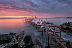 Sunrise in Burgas Bay Stock Photography