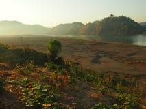 Sunrise in Burma stock images