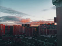 Sunrise in Butovo. The city just wakes up Stock Photography