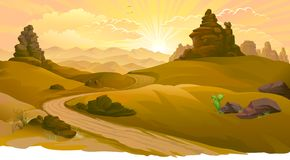 Sunrise on the road to the Mojave Desert vector illustration