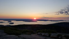 Sunrise on Cadillac Mountain stock photo
