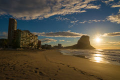 Sunrise on Calpe beach Stock Image