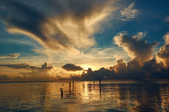 Sunrise in Cancun. Early morning on the sea Stock Photography
