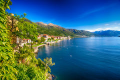 Sunrise in Cannero riviera village, lage Maggiore, Verbania, Piedmont, Italy royalty free stock photos