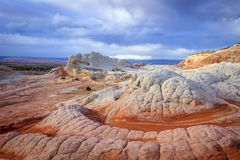 Wild sandstone scene in the desert southwest, Utah, USA. Sunrise canyon cliffs glowing in the desert southwest landscape, Arizona, USA Stock Photos