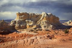Colorful sandstone scene in the desert southwest, Utah, USA. Sunrise canyon cliffs glowing in the desert southwest landscape, Utah, USA Royalty Free Stock Photos