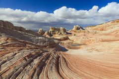 Colorful sandstone scene in the desert southwest, Utah, USA. Sunrise canyon cliffs glowing in the desert southwest landscape, Utah, USA Royalty Free Stock Image