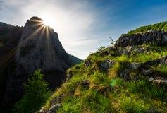 Sunrise in Canyon of Trascau mountains. Lovely scenery of Carpathian landscape in springtime. beautiful travel destination. location Cheile Valisoarei, Romania Royalty Free Stock Photos
