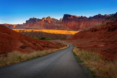 Sunrise on the Capitol Reef Scenic Drive Out of Fruita, Utah. Stock Image