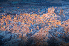 Sunrise in Cappadocia Turkey. View from balloon trip over the Cappadocia Region, central Turkey Stock Photo