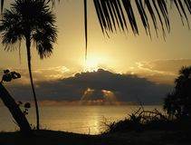 Sunrise in the Caribbean. Sunrise over the Caribbean sea off the coast of Belize Royalty Free Stock Images