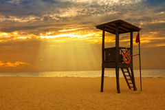 Sunrise in a Caribbean beach Stock Images