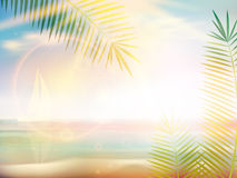 Sunrise on Caribbean beach design template. Stock Photography