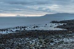 Sunrise in Carnlough bay. Antrim, Northern Ireland, UK stock photos