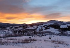 Sunrise Carpathian mountain winter view. Stock Image