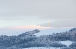 Sunrise Carpathian mountain winter view. Stock Photo