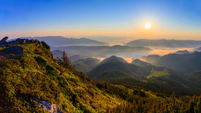 Sunrise in the Carpathian mountains Royalty Free Stock Images