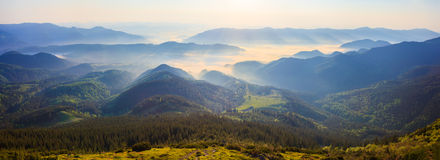 Sunrise in the Carpathian mountains Stock Photography