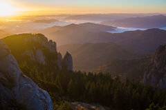Sunrise in Ceahlau mountains, Romania. Amazing view in the mountains of Romania at sunrise royalty free stock photos