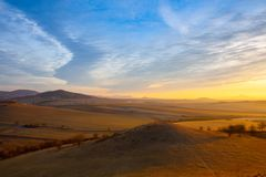 Sunrise in Central Bohemian Highlands, Czech Republic. Central Bohemian Uplands is a mountain range located in northern Bohemia. The range is about 80 km long stock image
