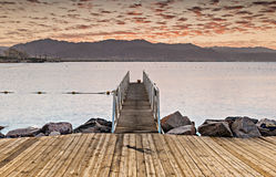 Sunrise at central public beach of Eilat Stock Photography