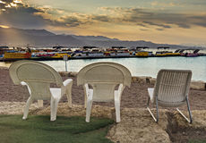 Sunrise at central public beach in Eilat Royalty Free Stock Images