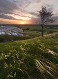 Sunrise on chalk hills Stock Photo