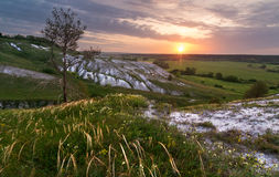 Sunrise on chalk hills Stock Photos