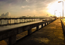 Sunrise at chalong bay pier Stock Photography