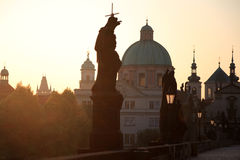 Sunrise at the Charles Bridge. Prague, Czech Royalty Free Stock Photo