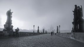 Sunrise on the Charles Bridge. Royalty Free Stock Photo