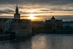 Sunrise on the Charles bridge Karluv most. Prague, Czech Republic. Royalty Free Stock Image