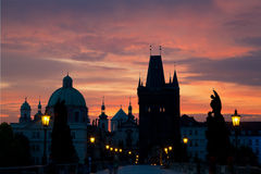 Sunrise on Charles  bridge in Prague Stock Photo